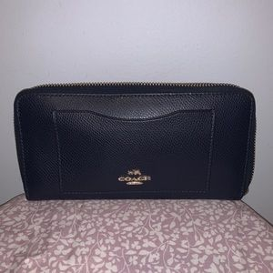 COACH NAVY BLUE ZIP WALLET -front pocket for cards